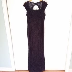 Adrianna Papell floor length lace navy gown